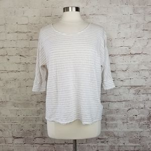 St. Tropez West Knit Linen Stripe Half Sleeve Top